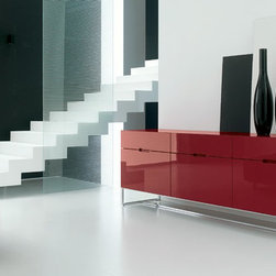 Our Designer Furniture - EDOMADIA - Sideboard in lacquered wood. Chrome-plated or painted steel base.  Made in Italy