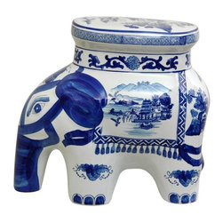"""Oriental Furniture - 14"""" Landscape Blue and White Porcelain Elephant Stool - Crafted from high quality vitreous porcelain ceramic in the shape of an elephant, traditionally symbols of luck. Painted with a finely-detailed oriental landscape alongside eyes, ear, trunk and tapestry detail. Great small stool, side table, drink or plant stand."""