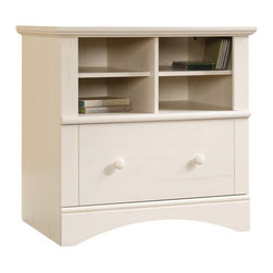 Sauder - Sauder Harbor View 1-Drawer Lateral Wood File Cabinet in Antique White - Sauder - Filing Cabinets - 158002