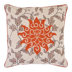 "Surya - Surya Pillow X-D8181-0002IS - This large flower is complimented by small leaves. Colors of ecru and rust accent this decorative pillow. This pillow contains a poly fill and a zipper closure. Add this 18"" x 18"" pillow to your collection today."
