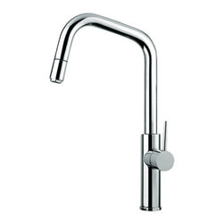Maestrobath - MITU 2 Chrome Beautiful Kitchen Faucet - This luxury single handle kitchen faucet with pull out mono shower head will look amazing in any kitchen. The high end Italian faucet can accommodate any type of kitchen sink. The contemporary faucet is easy to install, keep clean and maintain. Modern chrome faucet is also available in brushed nickel finish. The modern faucet is made of lead-free brass. Whether your decorating style is traditional or modern, Maestrobath products will compliment your home improvement project and add a lavish, luxurious feel while protecting your health, safety and the environment.