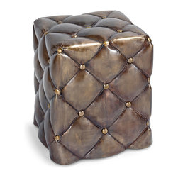 """Regina Andrew - Regina Andrew Furniture Antique Brass Metal Tufted Ottoman - Regina-Andrew Design marries vintage style with modern flair for a furniture collection that's truly timeless. This unique metal ottoman mimics tufted upholstery for a unique decor accent in the living room, den or bedroom. Doubling as a chic side table, the golden-hued piece stays true to the brand with a traditional look updated for contemporary style. Made from metal with antique brass finish. 16.5""""W x 16.5""""D x 19""""H."""