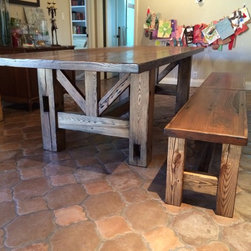 Dining Table - American Chestnut and Oak Dining Table with Split Benches - Thomas Porter