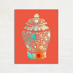 Ginger Jar Print, Chinoiserie Wall Art, Hollywood Regency, Chinoiserie Wall Art - Chinoiserie wall art. Teal, Orange and lacquer red are the dominant colors in this chinoiserie print. The Chinoiserie Ginger Jar has been digitally colored with my original watercolor and ink painting . Professionally printed on archival photo paper against the look of embossed paper.