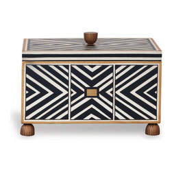 Port 68 - Pompano Box - Make a statement with this bold black and white patterned Pompano Box. A dramatic addition to a desk or coffee table, this box features hand-lacquered wood, gold edging and fluted feet and finial. The box is deep and tall enough to hold a variety of items, but not so large that its presence overpowers a small space.