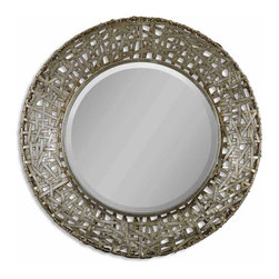 Uttermost - Uttermost 11603 B Alita Champagne Woven Metal Round Mirror - Made of Strips of Hand Forged Metal