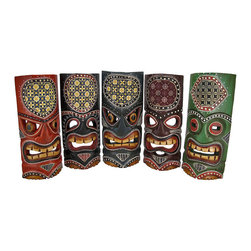 Set of 5 Tiki Masks Batik Headdress 11 In. - This set of 5 Polynesian style wall masks is hand-carved from wood, hand-stained and hand painted. Each mask features a batik fabric headdress, dot painted accents, and a hanger on the back. They measure approximately 11 inches tall, and 4 1/2 to 5 inches wide. They look great on walls in patios, living rooms, offices, bedrooms, even in kitchens, and they are a must-have for any tiki bar. These wall masks make a great gift for friends and family. NOTE: Since these masks are hand carved and hand painted, there may be slight color or facial differences from the pictures.