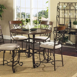 Steve Silver Co. - Callistro Counter Height Table Set w 4 Chairs - Includes: Table top, Base, 4 Chairs & Bakers rack. Decorative metal scroll work base. Wood framed table top with a faux marble inlay. Traditional style. Sturdy gauge metal construction. Select hardwood solids material. Some assembly required. Table: 45 in. L x 45 in. W x 36 in. H (91.5 lbs.). Chair: 21 in. L x 18 in. W x 44 in. H. Bakers rack: 36 in. W x 19 in. D x 72 in. H (88 lbs.)