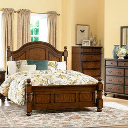 Homelegance - Homelegance Langston 5 Piece Poster Bedroom Set in Brown Cherry - An updated take on classic country style, the Langston Collection blends effortlessly into your cozy bedroom. Cannonball finials top the bedposts, while distinct framing adds to the classic design of the bed. Metal knob and bale hardware adorn each case piece, as do rounded pilasters. Further completing the collection is the rich burnished pine finish. - 1746-PSB-5-SET.  Product features: Langston Collection; Brown Cherry Finish; Classic country style; Cannonball finials top the bedposts; Metal knob and bale hardware. Product includes: Poster Bed (1); Nightstand (1); Chest (1); Dresser (1); Mirror (1). 5 Piece Poster Bedroom Set in Brown Cherry belongs to Langston Collection by Homelegance.