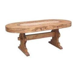 Million Dollar Rustic - Oval Marble Table w Star - 78 in marble inlay. Two drawers on each long side for tableware. Sits up to 8. Warranty: One year. Made from white pine. 78 in. W x 39 in. D x 31 in. H (135 lbs.)