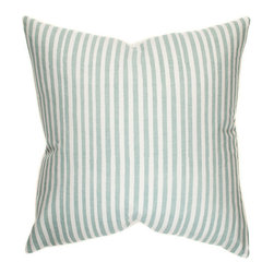"Belle & June - Mini Stripe Decorative Throw Pillow in Robins Egg Blue - Classic and clean, this designer decorative pillow is everything you could want to give your room an easy makeover. With its crisp hand printed stripe pattern, and beautiful color palette to choose from, the mini stripe pillow mixes and matches perfectly with other pillows from this collection. Dimensions: 22"" x 22"""