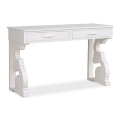 Chloe Console Table - I love the shape and design of this console table. It serves as a perfect piece for your growing child — use it as a changing table for babies; add some storage ottomans underneath for toddler's toys and extra seating for friends; and, finally, turn it into a workspace area or makeup vanity by adding a chair, mirror and accessories for pre-teens and teenagers.