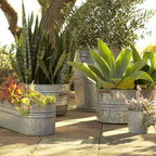 Eclectic Galvanized Metal Planters - You can never have enough galvanized metal containers. They can be planters, drink holders for a party or outdoor gear storage with style.