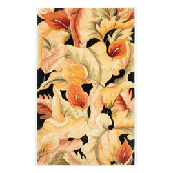 "KAS - Catalina Calla Lillies 759 Black Rug by Kas - 5 ft x 8 ft - One of Kas's finest collections comes the Catalina Collection. Hand tufted and hand carved of gorgeous wool, each rug offers fantastic floral patterns and color schemes. Their use of vibrant and direct colors is guaranteed to provide the ""pop"" you are looking for. If you are in the market for a wonderful floral style rug, look no further than the Catalina Collection."