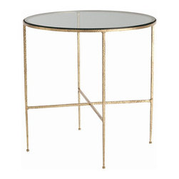 Arteriors Home - Arteriors Home Winchester Hammered Iron/Glass side Table - Arteriors Home 6754 - Arteriors Home 6754 - Round hammered iron side table with textured gold leaf finish features clear glass top.
