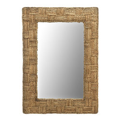 KOUBOO - Rectangular Checquered Wall Mirror in Rope - 24 inches wide x 36 inches high x 1.5 inches deep.