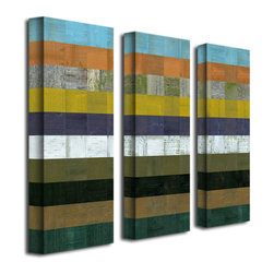 Trademark Art - Michelle Calkins Wooden Abstract I - 3 Panel - Gallery Wrapped Canvas Art. Canvas wraps around the sides and is secured to the back of the wooden frame. Frameless presentation of the finished painting. 8 in. L x 24 in. W x 2 in. D (6 lbs.)