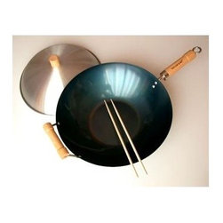Taylor and Ng - 14 in. Flat Bottom Wok Set - Designed with a flat bottom to accommodate electric or gas cooktops. This 3-piece wok set includes a pre-seasoned 14 in. single handle flat bottom wok. Wood knob dome wok cover to help retain heat while cooking, 1-pair Bamboo cooking chopsticks and a wok care/recipe booklet. Any type of cooking utensil can be used on wok. Natural Nonstick Woks collection. Pre-seasoned cold rolled Carbon Steel wok. No nonstick coatings. Flat bottom wok. Additional Wood helper handle. Cleaning and care: Hand wash and dry. 14 in. L x 14 in. W x 3.8 in. H