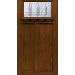 Entry Single Door 80 Fiberglass Prairie Craftsman 2 Panel