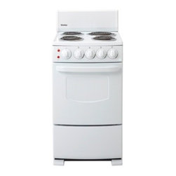 "Danby - 20"" Electric Range, Coil Elements,Push & Turn Safety Knobs,Manual Clean - Danby's DER2009W 20 In. Electric Range, in white, measures only 20 inches wide but offers 4 burners plus a 2.6 cu. ft. capacity oven. And it has an easy to clean spill-proof porcelain cooktop. Taking up a minimum amount of space, this range is the perfect addition to trailers, cottages or accessory apartments.Space saving 20-inch electric range (manual clean)