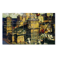 Picture-Tiles, LLC - Building The Town Tile Mural By Nilolai Roerich - * MURAL SIZE: 24x40 inch tile mural using (15) 8x8 ceramic tiles-satin finish.