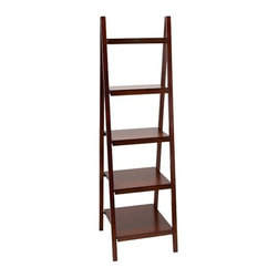 "Benzara - Brown Leaning Ladder Bookcase 66"" High - Brown Leaning Ladder Bookcase 66"" High. This 5 tier leaning ladder Bookcase is finished in brown color. The Display rack is 66 inches in height x 19 inches wide x 17 inches deep. Each Tier is 15, 13, 10, 8 and 6 inch deep from bottom to top. Great for display and storage of books and Collectibles."