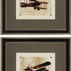 Paragon Decor - Flight Plans Set of 2 Artwork - Airplanes from yesteryear are enhanced with mounting corners for a vintage look.