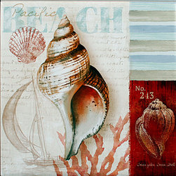 "Tile Art Gallery - Pacific Beach - Ceramic Accent Tile - This is a beautiful sublimation printed ceramic tile entitled ""Pacific Beach"" by artist Conrad Knutsen. It features a seashell medley with a sailboat in the background."