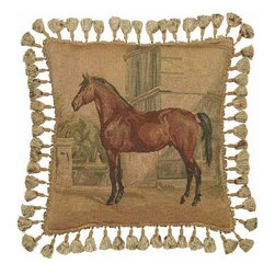 "EuroLux Home - New Aubusson 20"" x 20"" Throw Pillow, Horse - Product Details"