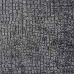 Grey Alligator Print Shiny Woven Velvet Upholstery Fabric By The Yard - This alligator velvet is truly unique in the way that it shines. In addition, it is very durable and comfortable too! This material is great for residential, commercial and hospitality upholstery.