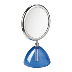 WS Bath Collections - Toeletta 5622-KB Makeup Mirror 3x/6x with Blue Base - Toeletta 5622-KB by 11.8 Dia x 7.1 Free Standing Magnifying Mirror, Structure in Colored Abs, Chromed Abs, Polycarbonate