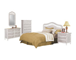 SEAWINDS TRADING - Santa Cruz Tropical Rattan and Wicker 5 Piece Bedroom Furniture Set (Whitewash) - The Santa Cruz in whitewash stain is a high end wicker 5 piece bedroom collection that will turn your bedroom into a tropical paradise. Its all quality with steel glide drawers and heavy wicker weave. The pricing is excellent for such nice wicker bedroom furniture. Here are the 5 included items: