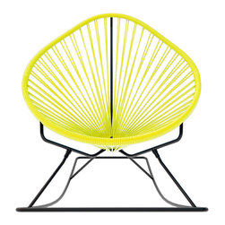 Acapulco Rocker, Yellow Weave On Black Frame - Sit back and relax in this classic woven rocking chair. The iconic pear-shaped seat is perfect for enjoying the backyard, but looks equally stylish inside the home. Order from a rainbow of colors to match your personality or stay cool with classic black and you can't go wrong.