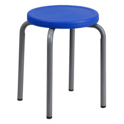 Flash Furniture - Flash Furniture Stackable Stool with Blue Seat and Silver Powder Coated Frame - This petite stool will be perfect in the classroom or home. Use in the garage or workshop when working in small areas.