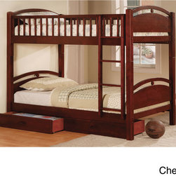 Furniture of America - Furniture of America Arcmille Twin over Twin Bunk Bed with Drawers - Charmingly designed with slatted rails and arched boards,this space-saving bunk bed comes with easy access and handy access. Offered in two classic colors,each bed offers years of utility.