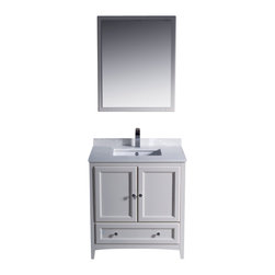 "Fresca - 30 Inch Single Sink Bathroom Vanity in Antique White, Antique White - Blending clean lines with classic wood, the Fresca Oxford Traditional Bathroom Vanity is a must-have for modern and traditional bathrooms alike. The vanity frame itself features solid wood in a stunning antique white finish that's sure to stand out in any bathroom and match all interiors. Available in many different finishes and configurations.  Dimensions: 30""W X 20.38""D X 32.63""H (Tolerance: +/- 1/2""); Counter Top: White Quartz Stone; Finish: Antique White; Features: 2 Doors, 1 Drawer; Soft Close Hinges; Hardware: Chrome; Sink(s): 16.25"" X 11.5"" X 6.5"" Undermount White Ceramic Sink; Faucet: Pre-Drilled for Standard Single Hole Faucet (Included); Assembly: Light Assembly Required; Large Cut Out in Back for Plumbing; Included: Cabinet, Sink, Choice of Faucet with Drain and Installation Hardware, Mirror (26""W X 31.88""H); Not Included: Backsplash"