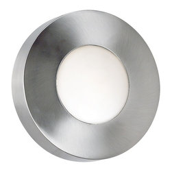 """Lamps Plus - Contemporary Burst Aluminum 8"""" High Round Outdoor Wall or  Ceiling Light - With a polished aluminum finish this clean modern design is stylish and versatile. Choose between cobalt blue or white glass shades to suite your mood. On a porch entryway near stairs indoors or outside this light is an eye-pleaser. The geometric simplicity and soothing light is interesting but not obtrusive. In addition to the main center light this accent fixture has rays of light back-light feature which throws light to create a pattern on the wall or ceiling. Polished aluminum finish. White opal glass shade AND cobalt blue glass shade included. Wall or ceiling mounted. Indoor or outdoor use. Ray of Light back-light feature. Includes one 75 watt JDE-11 mini frost bulb. 8"""" wide. 8"""" high. Extends 5"""" from wall.  Polished aluminum finish.   White opal glass shade AND cobalt blue glass shade included.   Wall or ceiling mounted.  Indoor or outdoor use.   Damp location rated only.  Includes one 75 watt JDE-11 mini frost bulb.   8"""" wide.   8"""" high.  Extends 5"""" from wall.    Ray of Light back-light feature makes sunburst pattern."""