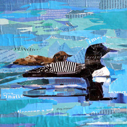 """The Loons"" (Original) By Carmen  Beecher - These Loons Were Peacefully Floating In Big Lake In Alaska. I Enjoy Hearing Their Cry And It Was So Nice To See A Mother And Baby Up Close Like This. This Is A Collage On Stretched Canvas, Entirely Made Of Magazine Pages. It'S A 1 1/2-Inch Deep Canvas, So It Can Be Hung Framed Or Unframed."