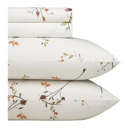 Sakura Queen Sheet Set - Ikebana inspiration for your personal space. A botanical pigment print with a washed look in burnt oranges, greens and rust with brown branches is scattered across a soft white background. Sheet set includes one flat sheet, one fitted sheet and two standard pillowcases. Bed pillows also available.