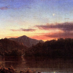"Frederic Edwin Church The Evening Star - 18"" x 24"" Premium Archival Print - 18"" x 24"" Frederic Edwin Church The Evening Star premium archival print reproduced to meet museum quality standards. Our museum quality archival prints are produced using high-precision print technology for a more accurate reproduction printed on high quality, heavyweight matte presentation paper with fade-resistant, archival inks. Our progressive business model allows us to offer works of art to you at the best wholesale pricing, significantly less than art gallery prices, affordable to all. This line of artwork is produced with extra white border space (if you choose to have it framed, for your framer to work with to frame properly or utilize a larger mat and/or frame).  We present a comprehensive collection of exceptional art reproductions byFrederic Edwin Church."