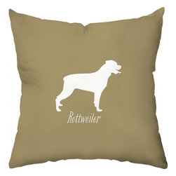 Checkerboard Ltd - Rottweiler Decorative Throw Pillow - 18 inch by 18 inch - Silhouette of a Rottweiler on the front proudly proclaiming the breed with the back of pillow featuring a houndstooth pattern. Our softly textured fabric is long-lasting, wrinkle-resistant and feels as great as it looks.