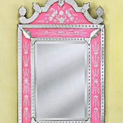 """Venetian Gems - Natasha Venetian Wall Mirror in Pink - Perk up any room or hallway with the beautiful Natasha Venetian Wall Mirror in Pink. Crafted using old techniques from Venice, Italy, this wall mirror boasts a lovely pink frame with hand-etched accents and top adornment. The beveled mirror comes with a hanger for easy mounting. Wall Mirror Features: -Venetian wall mirror with accents. -Hand-etched pink frame with top adornment. -Hand-cut glass. -Wood backing. -Equipped for easy wall mounting. -Overall dimensions: 68.5"""" H x 38"""" W."""