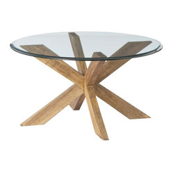 Arteriors - Gwenieve Coctail Table - Adding this cocktail table will impart some casual chic to your favorite space. Its chunky wood base, sandblasted and then waxed to achieve a laid-back look, supports a thick, beveled glass top.