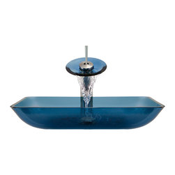 MR Direct - MR Direct 640 Aqua Colored Glass Vessel Sink, Brushed Nickel, 4 Items: Vessel Si - Make a personal design statement with the MR Direct 640-aqua ensemble; a distinctive, vessel-sink and waterfall-faucet combination. MR Direct glass vessel sinks are created of thick, tempered glass, making them less vulnerable to damage from high temperatures. The non-porous, polished surface is extremely attractive and sanitary; naturally resistant to stains, odors and discoloration. The waterfall faucet features solid-brass construction and a matching glass disc, over-which water lightly cascades into the vessel bowl. Water flow and temperature are easily controlled with the extended swivel handle. The ensemble includes a specially-designed, vessel pop-up drain that springs into place with a gentle touch. A matching sink ring is also provided for support of the bowl – required for the above-counter installation. Available in your choice of Brushed Nickel, Chrome, and Oil Rubbed Bronze finishes. Limited Lifetime Warranty.