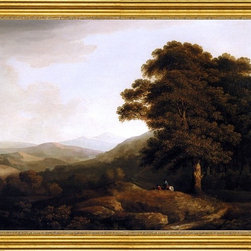 """Francis Towne-16""""x20"""" Framed Canvas - 16"""" x 20"""" Francis Towne A Landscape Looking North from the Lower Slopes of Snowdon framed premium canvas print reproduced to meet museum quality standards. Our museum quality canvas prints are produced using high-precision print technology for a more accurate reproduction printed on high quality canvas with fade-resistant, archival inks. Our progressive business model allows us to offer works of art to you at the best wholesale pricing, significantly less than art gallery prices, affordable to all. This artwork is hand stretched onto wooden stretcher bars, then mounted into our 3"""" wide gold finish frame with black panel by one of our expert framers. Our framed canvas print comes with hardware, ready to hang on your wall.  We present a comprehensive collection of exceptional canvas art reproductions by Francis Towne."""