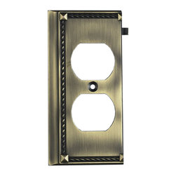 "Elk Lighting - Elk Lighting 2506AB Antique Brass End - Antique Brass End belongs to Clickplates Collection by Elk Lighting Decorative Outlet Covers Customizable To Your Receptacle Configuration. ""We'Ve Got You Covered"" With The Most Popular Models And Finishes. Quality Cast Metal Construction Will Add A Finishing Touch To Your decor. Clickplates Will Look Great In Every Room In Your Home. Clickplate (1)"
