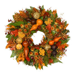 Gourd Fall Wreath - Authentic gourds and maple leaves add gorgeous texture to this pretty piece. It's such a kaleidoscope of fall color.