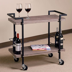 Office Star Products - Maxwell Ash Wood/ Black Metal Rolling Serving Cart - The Maxwell Serving Cart makes it easy to supply drinks and snacks during your next event. Crafted with a solid black metal frame,this handsome rolling cart is outfitted with two wine holders and finished with reclaimed ash wood.