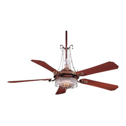 "Minka Aire - Crystal 68"" Cristafano Belcaro Walnut Ceiling Fan - The Cristafano ceiling fan from Minka Aire has a belcaro walnut finish with dark walnut blades. This fan features a 212 x 25mm motor with a lifetime warranty. Includes 3 1/2"" and 16"" downrods a full-function wall mount control system with independent up/down light control. Machine cut and polished 22 percent lead crystal accents optional. Includes six 15 watt bulbs (uplight). Includes two 50 watt halogen bulbs (downlight). 68"" blade span. 14 degree blade pitch. (UM)  Belcaro walnut finish.  Dark walnut finish blades.  Lifetime motor warranty.  Includes six 15 watt bulbs (uplight).   Includes two 50 watt halogen bulbs (downlight).   68"" blade span.   Fan height 11-3/4"" blade to ceiling (with 3-1/2"" downrod).  Fan height 18-3/4"" ceiling to light kit (with 3-1/2: downrod).  Includes 3-1/2"" and 16"" downrods."