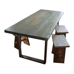 Ross alan reclaimed reclaimed douglas fir table metal for Buy reclaimed wood los angeles
